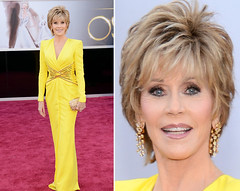 splitscreen photos of Jane Fonda - on the left, a full body shot of her in a long, yellow gown. On the right, a close-up of her, smiling