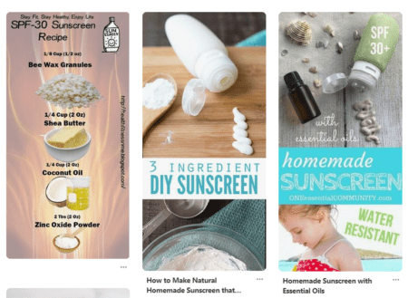 a screenshot of beautiful photos and ingredients lists for homemade sunscreens from Pinterest