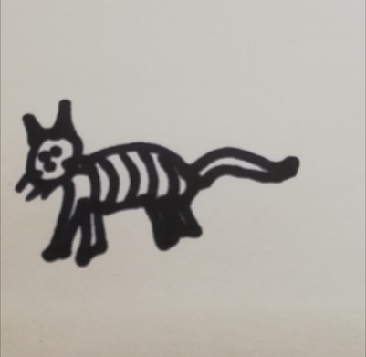 Poorly drawn striped cat in black ink
