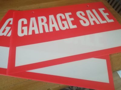 garage sale signs, with the address not yet filled in