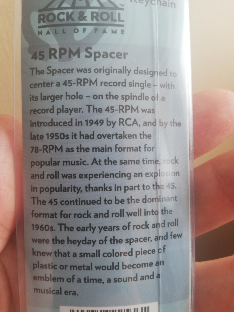 "A few sentences explain the history of the 45-RPM, that it was introduced by RCA in 1949 and by the late 1950s it overtook the 78 as the main music format. The doodad for the 45 to fit it on the spindle is known as a ""45 RPM Spacer""."