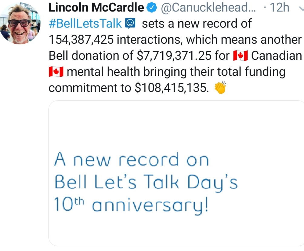 Tweet by Lincoln McCardle that shows Bell's donation for 2020 Let's Talk Day totals $7.7-million.