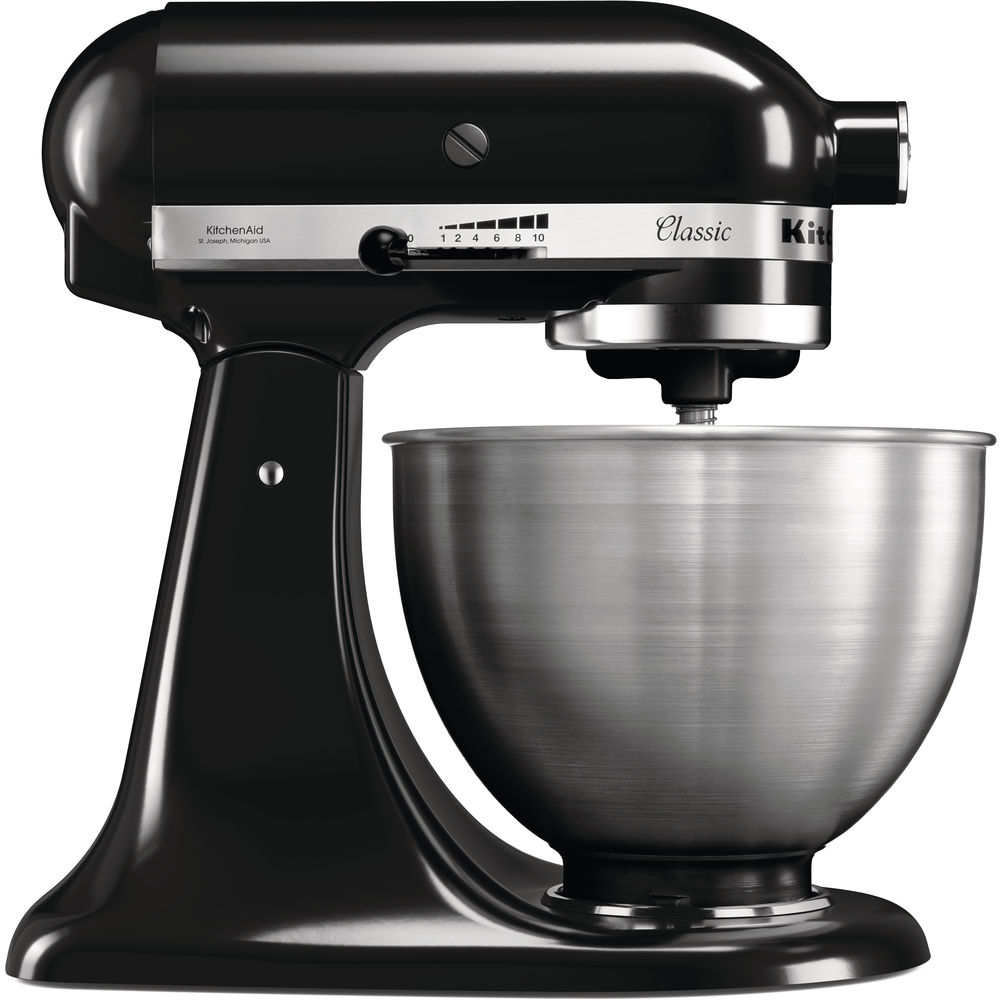 Black Classic mixer with a stainless steel bowl. On the side you can see a lever that controls the mixing speeds, from 1 to 10.