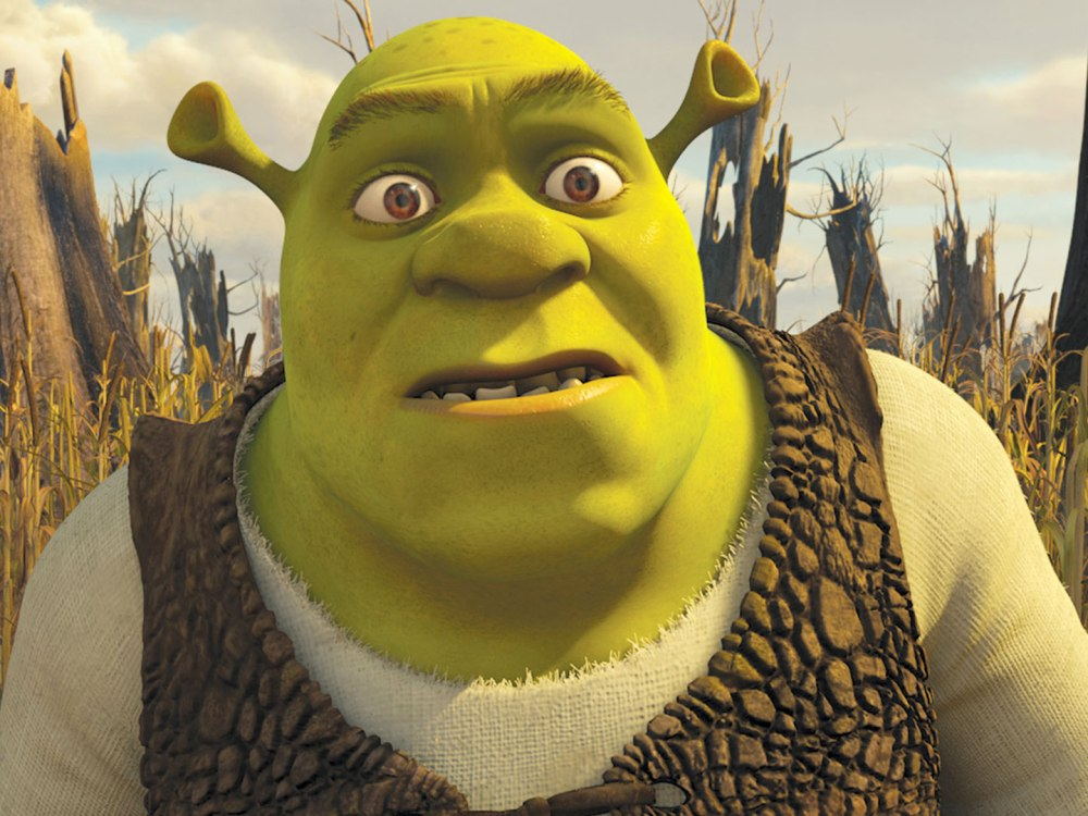 Head and shoulders of Shrek, the giant, green ogre from the movie of the same name.