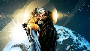 Two men kiss. One with long white hair and a gold and white skin tight hero-ing suit the other coated in black leather. They stand on the viewing deck of a space ship in earth orbit. Behind them is earth and the stars. It's not from Orlandos run but the first midnighter solo comic.