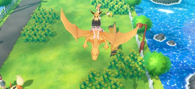 Me riding Charizard in Pokemon Let's Go Eevee