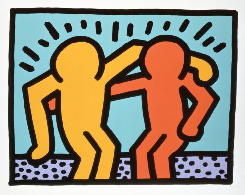 Best Buddies by Kieth Haring. Two cartoon figures with arms around each other and lines radiating from them.
