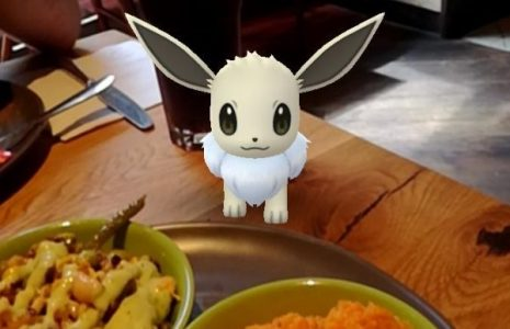 Shiny Eevee on the table at Nandos