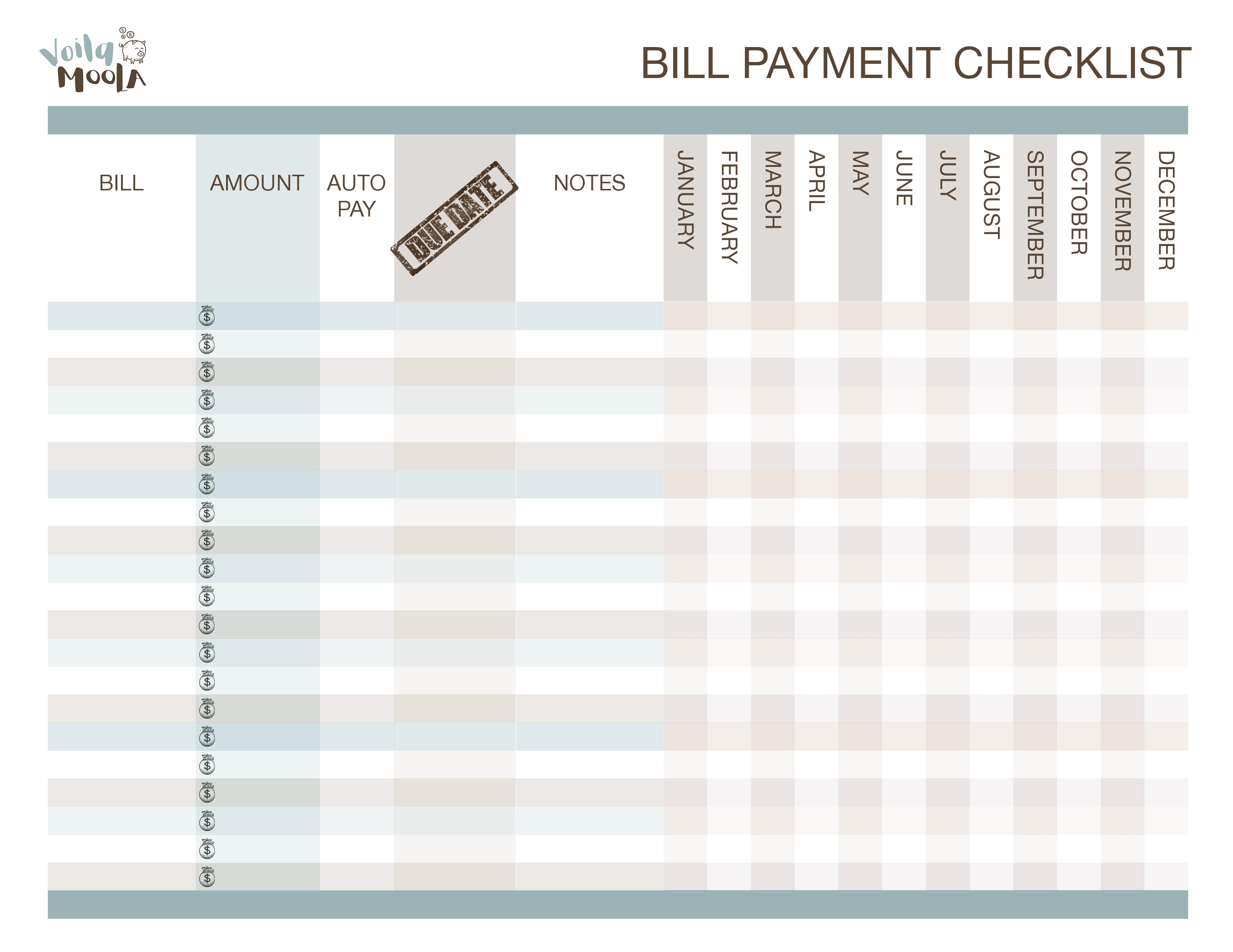 bill payment checklist voila moola