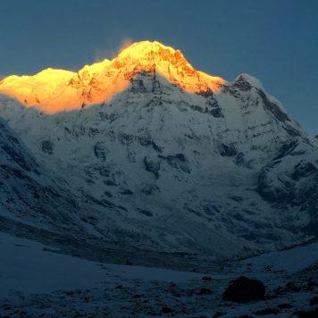Sunrise over Annapurna South, Annapurna base camp, Nepal