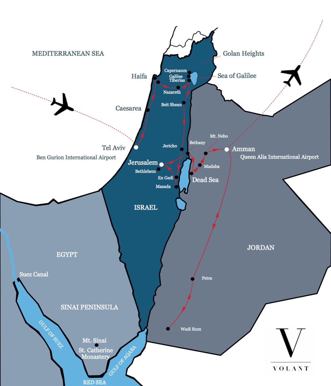 Best of Israel & Jordan Tour Map | Volant