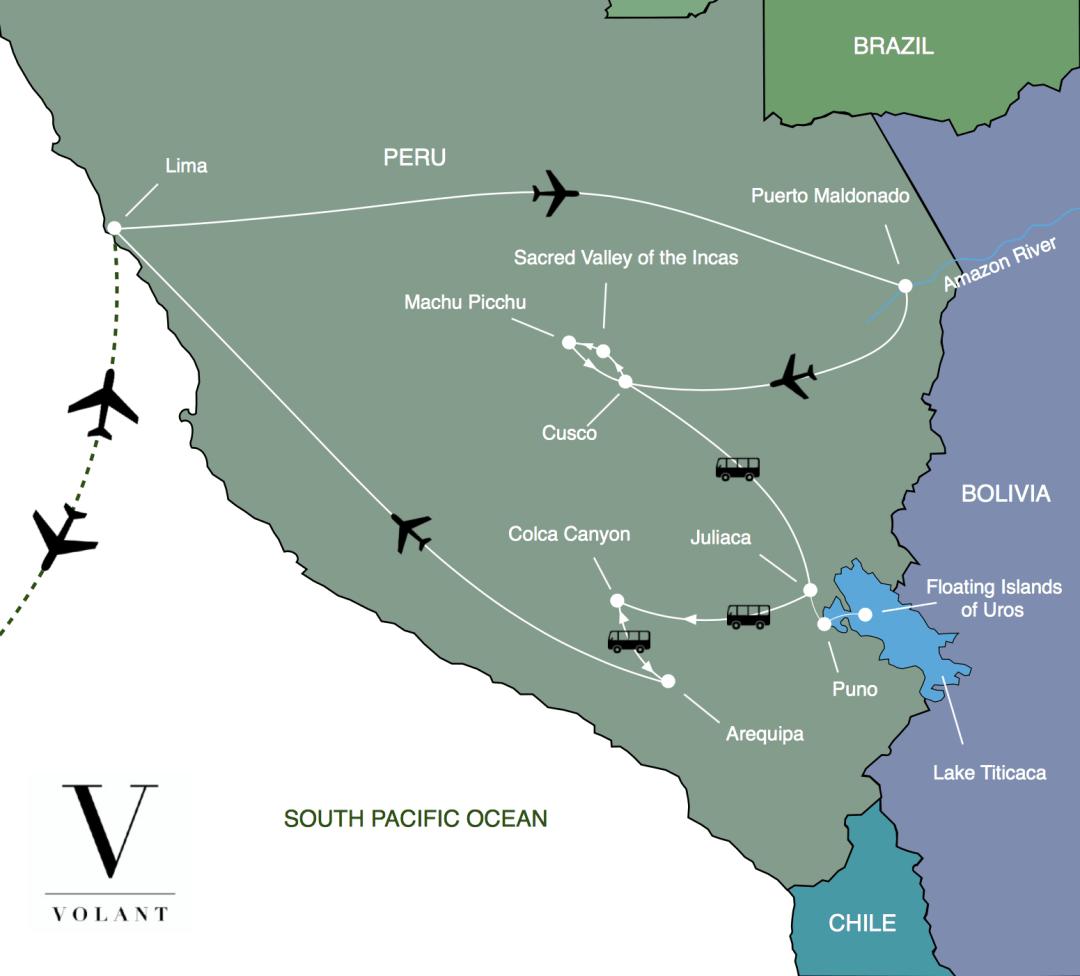 Best of Peru Tour Map | Volant