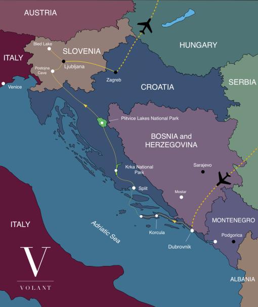 Dalmatian Coast, Croatia Tour Map | Volant Travel
