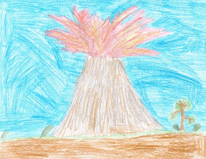 """Tanner's Volcano"", a drawing by a child of about 10 years of age. (Oregon State University)"