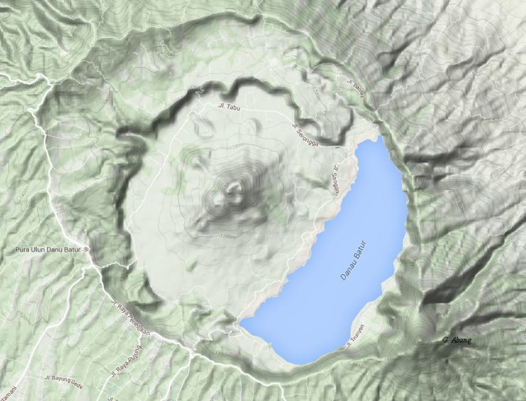 Ancestral Batur was an approximately 4,000-meter high stratovolcano, nearly a kilometre higher than present-day Agung (3,148 m), which had an enormous eruption in prehistoric times to form the outer, 10×13.8 km caldera around 29,300 BP which today contains a caldera lake, Danau Batur. The inner 7½ km caldera was formed at about 20,150 BP.