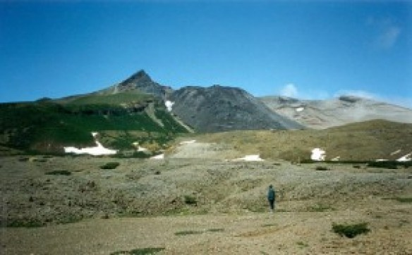 Flank collapse at Kharimkotan volcano, Kuriles, Russia. This was the result of the January to April 1933 VEI 5 eruption. There have been several more flank collapses at this volcano, in many different directions. (Photo by Alexander Belousov, 1994, GVP)
