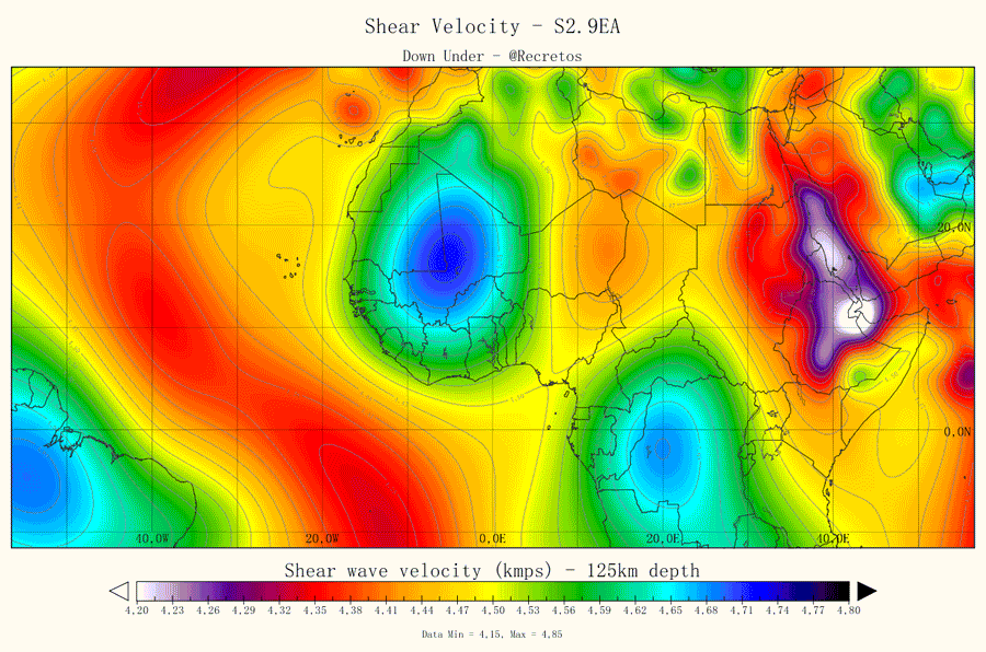 Tomographic map of 25km depth. Do note the position of the African Superplume and keep track of it. No Visible signs of a hotspot here at CVL. Image made by DownUnder for Volcanocafé.