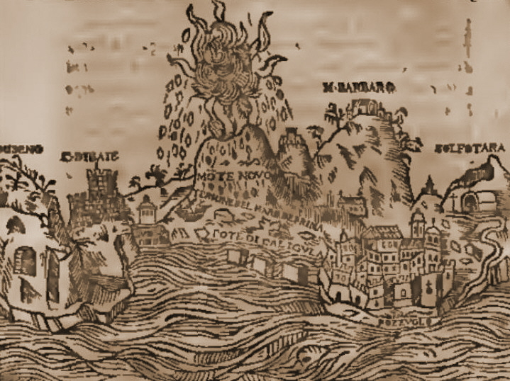 "A contemporary rendering, well almost, from 1657 of Campi Flegrei and the 1538 Monte Nuovo eruption. Even though the rendering is simplistic, details such as the flames allows us to guess that it may have been a ""red eruption"" and the rain of stones on all sides that it was Strombolian in nature. (Theatrum illustriorum Italiae urbium tabulae cum apendice celebriorum in Maris Mediterranei insulis civitatum, Amsterdam)"