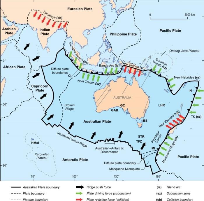 The Australian plate. Source: Brian Kennett, A Geology of Australia)
