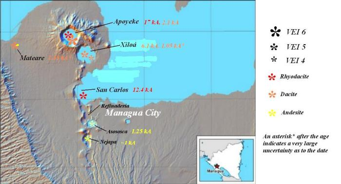 The Chiltepe complex and Nejapa Volcanic Field with the locations of some of the major eruptions marked (based on INETER map).