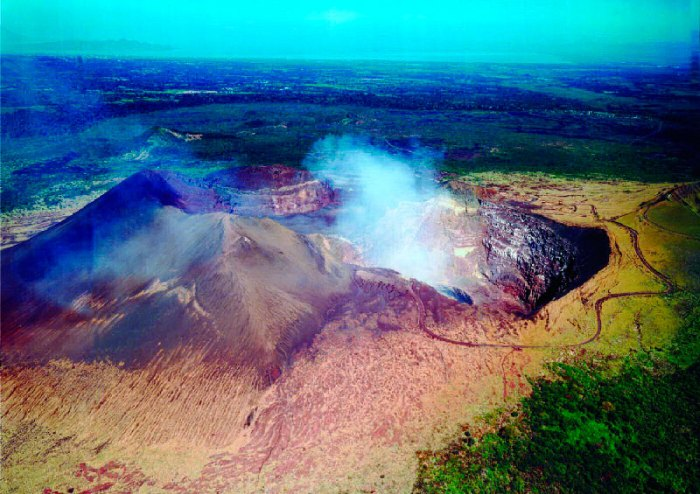 The central complex of Masaya. The caldera formed as recently as just over 2,000 years ago inside an older and larger caldera, the 30 kA Las Nubes caldera, which formed following the eruption of a major ignimbrite that can be seen in the Managua area.