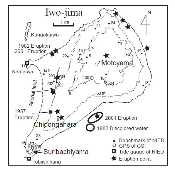 Fig. 2. Map showing the location of benchmarks and volcanic activity since 1889. The [phreatic] eruption sites since 1889 are indicated by star symbols. The interval of topographic contour lines is 50 m. (Ukawa et. al. 2006)