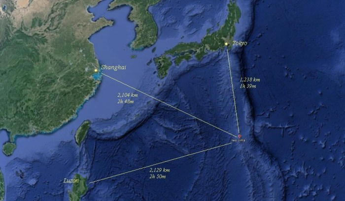 The location of Ioto (Iwo Jima) in relation to Tokyo, Shanghai and Luzon, Philippines as expressed in distance (km) and time at a tsunami propagation speed of 750 km per hour.