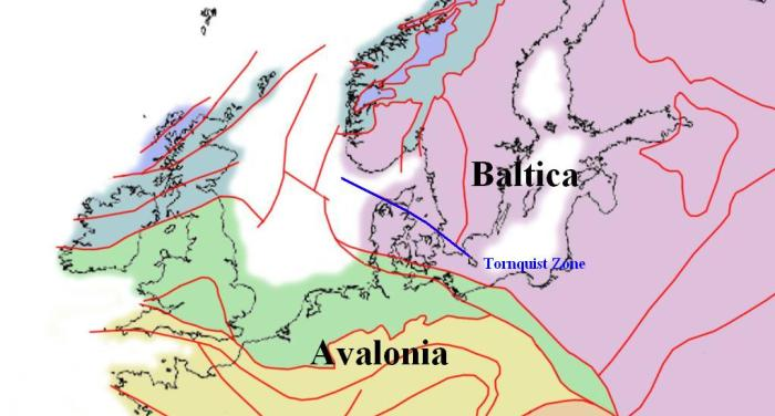 Geological map of Northern Europe showing the location of the Tornquist line in the SW part of the mainly igneous Baltica craton with the mainly sedimentary continent of Avalonia to the SW. (Adapted from Wiki)