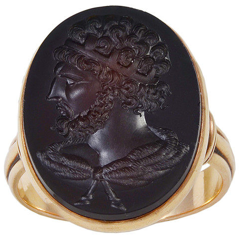 Intaglio or engraved garnet carrying the image of the Emperor Hadrian (suebrownjewels)