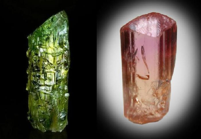 Superb crystal specimens of Beryl (variety Heliodor) and rare pink Topaz. The beryl crystal has been etched by the presence of fluorine in the solution after it had crystallised.