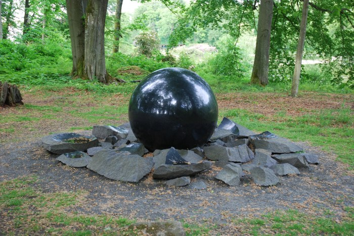 Diabase is often used for ornamental purposes due to its durability and aesthetic qualities such as this giant sphere in Southern Sweden. (Wikimedia, Pål Svensson)