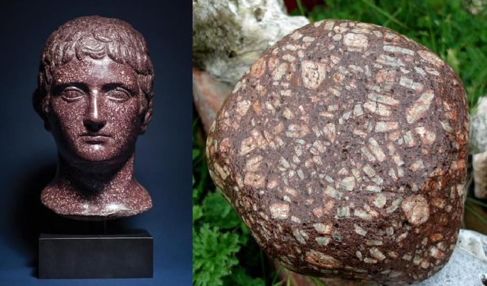 Sculpture in porphyry portraying an unidentified Roman tetrarch and Canisp Porhyry showing the large phenocrysts typical of the rock