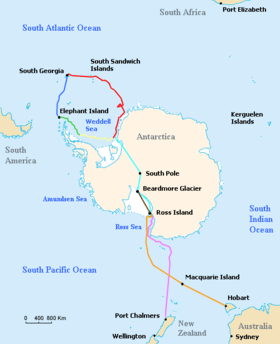 Track of Shackleton's expedition