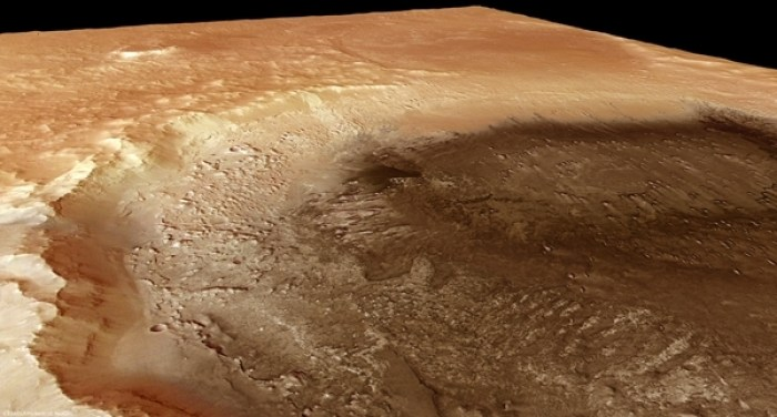 This computer generated image of the 2,300 km wide impact feature Hellas Planitia gives a good idea of how much of the Martian crust was gouged out by this humongous planetoid strike more than four billion years ago. The image covers a width of approximately 1,300 km, roughly the distance between New York and Chicago. The altitude difference between the rim and the crater floor is 9 km. (pixgood.com, origin unstated)