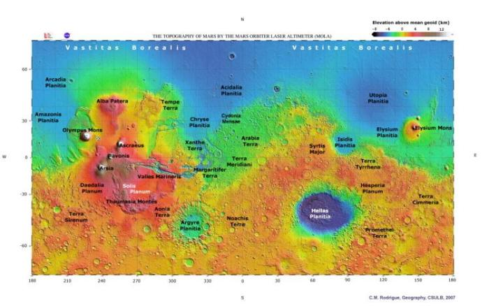 "The topography of Mars from data obtained by the Mars Orbiter Laser Altimeter (MOLA). The location of ""Olympia"" or ""Mars Base Alpha"" is marked by a blue and white star just to the east of Olympus Mons. The North Polar Basin, the result of a moon-sized object hitting Mars at least 3,900 million years ago, is obvious at the top as are the 2,300 km and 1,800 km wide impact basins Hellas and Argyre respectively. If placed side-by-side, the scars left behind by these two asteroid strikes would cover almost the entire United States. Since Mars shows little evidence of plate tectonics, there is no evidence of antipodeal volcanism resulting from such strikes. This rather kills off the antipodeal LIP hypothesis where a large asteroid strike supposedly set off the Siberian Traps hotspot c.250 MY. (C.M. Rodrigue, CSULB, based on mola.gsfc.nasa.gov)"