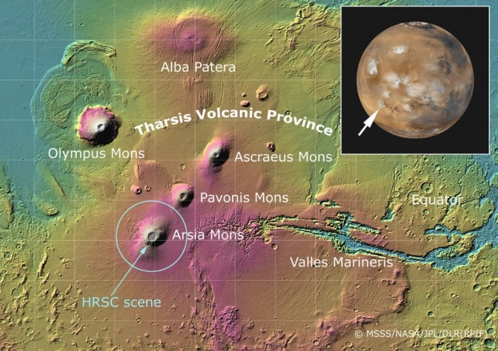 "Fig 1. Tharsis, the volcanic province of Mars which is at least 4 GY old, is the setting for our story ""Mars 2067, the Olympus Mons Expedition"". The location of our colony, ""Olympia"", is at the foot of the T in ""Tharsis. (MSSS/NASA/JPL/DLR (RPIF)"