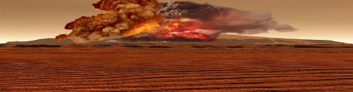 The eruptions of Olympus Mons must have been spectacular with Plinian basaltic eruption columns reaching possibly over 20 km in height before collapsing and causing huge pyroclastic flows. This photoshop image, while far from accurate, gives an impression of what such an eruption may have looked like. (Artist; Ingrid van der Voort)