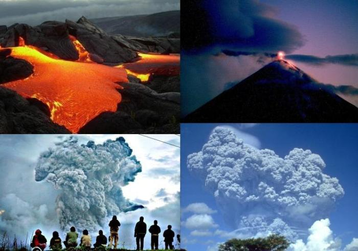 The four main types of volcanic eruptions from left to right, top to bottom: – Effusive, sometimes also referred to as Hawaiian, eruption; lava flows from in rivers from a vent (uncredited image) – Effusive-explosive Strombolian eruption, Klyuchevskoy, Kamchatka (KVERT webcam) - Explosive Vulcanian (or Peléan) eruption, moderate eruption column accompanied by pyroclastic flows, Gunung Sinabung, Indonesia (FT Photo Diary, Jamie Han) - Explosive Plinian eruption, eruption column often greater than 20 km. Mount Pinatubo, Philippines, June 1991 (WikiMedia)