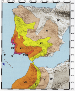 Shaking map of the Lisbon earthquake. Source:  Oliveira 2008