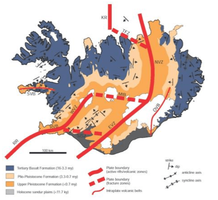Geological structure map of Iceland. Image by Ice2015.no
