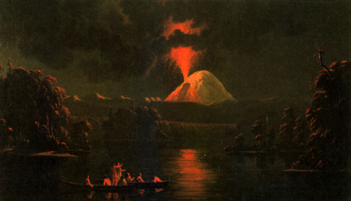 Indians on the Cowlitz River watching an eruption of Mount St. Helens, as painted by Canadian artist Paul Kane following a visit to the volcano in 1847 (Photograph courtesy of the Royal Ontario Museum).