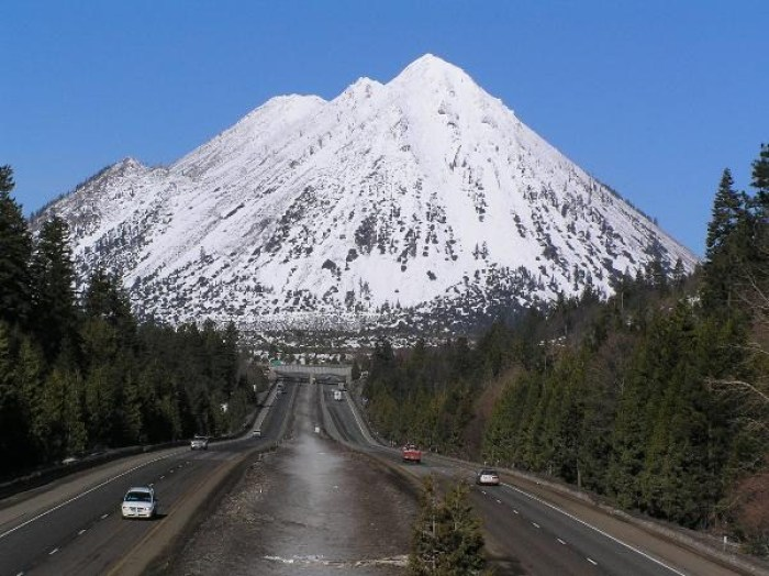 The impressive dacite lava dome complex Black Butte as seen from Interstate 5. Anyone fancy a ride? (geocaching.com)