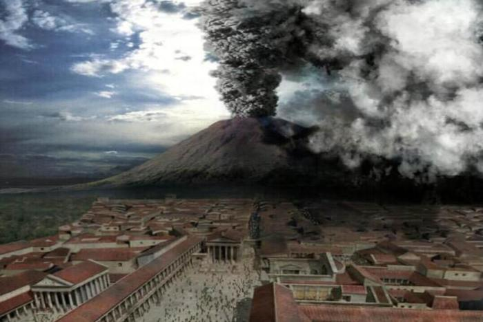"Artist's impression of the 79 AD eruption as seen from Pompeii. Image is probably a screen-grab from the movie ""Last Days of Pompeii""."