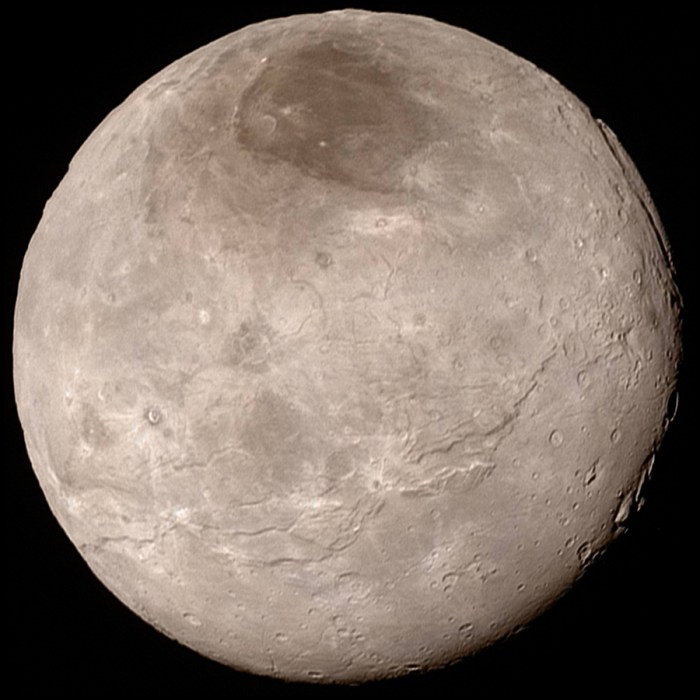 Charon as seen by New Horizons. Click for an enhanced-colour image with further detail