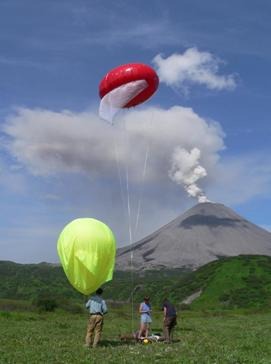 Here, helium balloons are used to sample airborne ash from Karymsky volcano (Kamchatka).