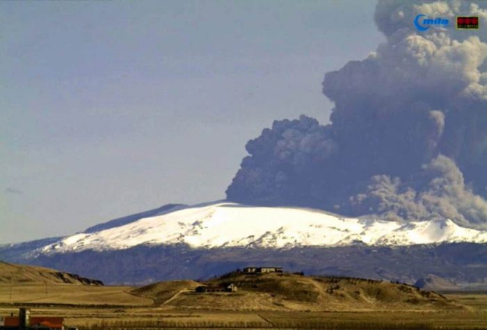 April 17th was arguably the most spectacular day of the eruption with what must have been pyroclastic flows that exploded spectacularly as they came into contact with the glacier which sent the ash three times higher than it had been at the vent as can be seen in this webcam image (Mila Hvolsvöllur webcam)