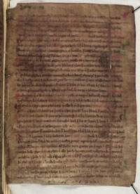 A page from a vellum manuscript of Landnáma in the Árni Magnússon Institute for Icelandic Studies in Reykjavík, Iceland (Wikipedia)