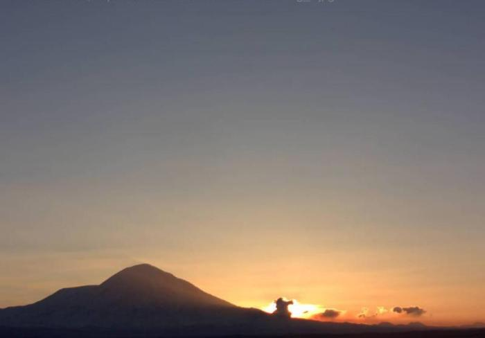 The great Tolbachik fissure eruption as seen at 22:23 UT on December 30th 2012 – in fact this is sunrise on the last day of the year in Kamchatka.