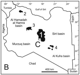"The ""local"" volcanic rift that continues out into the Red Sea. 1. Al Haruj, 2. Jifarah, 3. Jabal al Sawda, 4. Jabal Nuqay. Waw an Namus is directly south of Al Haruj."