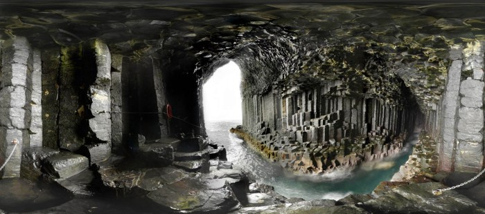 The world famous lava pillars of the Cave of Fingal